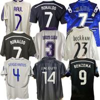 Jerseys de fútbol retro Zidane 1997 1998 Chandal Raul 02 03 04 Sergio Ramos Ronaldo Futbol Kaka Camisa de Futebol 16 17 Maillot Pie