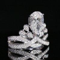 유럽과 미국의 패션 하이 엔드 Jz463 크라운 모조 모이 사 나이트 링 시뮬레이션 다이아몬드 반지 반지 여성 액세서리 거실 드롭 모양의