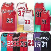 NCAA 23 MJ Jersey 33 Scottie 91 Dennis Pippen Rodman Kevin كارتر 15 فينس جارنيت كلية كرة السلة الفانيلة