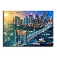 5D DIY Elmas Tam Kare Elmas nakış Güneş ve ay şehir yelkenli Cross'un dikiş köprü Tam Yuvarlak Elmas mozaik boyama