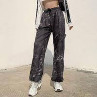 Хип-хоп Метал цепи черный штанах Женщины выдалбливают Карманы Сыпучие Tie Dye шаровары Женщины Streetwear HiLong Брюки женские 2021 осень
