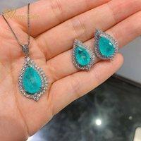 Wong Rain Luxury 100% 925 Стерлинговые серебро Paraiba Tourmaline Gemstone Серьги / подвеска / ожерелье свадебные ювелирные изделия наборы оптом