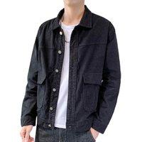 Neueste Design Corduroy Jacke Männer Casual Mantel Herbst Slim Fit Double Taschen Männer Jacken Komfortable graue Oberbekleidung 3XL, 962