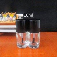 200pcs 10ml de alta qualidade Esvaziar forma redonda unhas Garrafas polonesas Cap UV escova pequena Art Glass Container