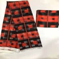 Hot sale Gahna Style satin silk fabric with organza ribbon and satin African wax design ! T200529