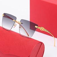 Sıcak Satış Buffalo Boynuz Gözlük Moda Spor Gözlükler Dekor Rimless Alaşım Çerçeve Buffalo Ahşap Bacaklar Kadın Güneş Gözlüğü Lunettes de Soleil