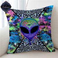 Trippy Alien Brizbazaar tarafından Yastık Örtüsü Suluboya Yastık Kılıfı Üçüncü Göz Dekoratif Atmak Yastık Kapak Saucerman Ev Dekorasyonu T200624