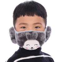 Máscara de oso de dibujos animados de la cara de los niños con la máscara orejeras caliente grueso Máscaras la boca de los niños de invierno Boca-mufla niños Dustpoof Adultos