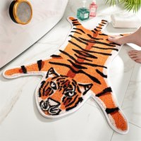 Honlaker Cartoon Tiger Shape Bath Door Flocking Floor TPR No...