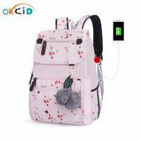 Schultaschen Okkid Kirschblüten Kinderrucksack für Mädchen Rosa Blume Blumen-Kind-Buch Bag1