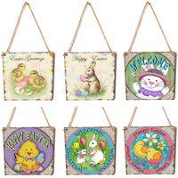 Adornos colgantes de madera Decoraciones de Pascua para el hogar lindo conejo DIY Crafts Etiquetas Felices colgantes de Pascua Decoración de la pared RRD4258