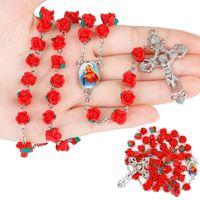 Fünf Dekade Our Lady 8mm Polymer Clay Rose Perlen Rosenkranz katholische Halskette mit Heiligem Boden Medaille Kruzifix religiöses Kreuz Halskette