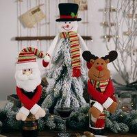 Cute Hold Mãos Papai Noel Dolls Decoração de Natal Decoração Feliz Natal Enfeites de Vinho Garrafa de Vinho Suporte Sacos Xmas Elk Deer HH9-3428