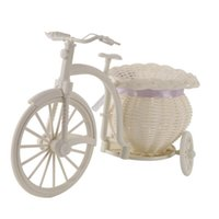 Decorative Flowers & Wreaths 2021 Plastic White Tricycle Bike Design Flower Basket Container For Plant Home Weddding Decoration