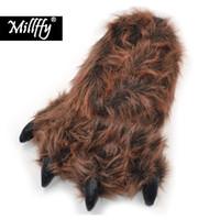 Millffy Śmieszne kapcie Grizzly Bear Whiped Animal Claw Paw Pappie Kapcie Derb Costume Footwear Q0108