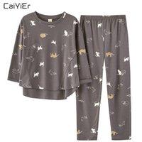 Caiyier осень паджамас набор женщин милый мультфильм животных кошка с длинным рукавом Pijama Femme девушка весна спящая ночная рубашка свободный домашний набор Y200425