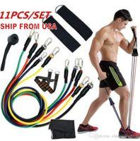 US-Lager 11 PC / Set Multifunktions-Outdoor-Sport-Latex-Widerstandsbänder Training Training Pilates Yoga Crossfit Fitness-Tuben