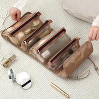 Высокое качество Женщины PortableMakeup сумки Многофункциональный путешествия Большие висячие Емкость складной Mesh съемная сумка для хранения Бесплатная доставка