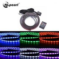 NLPEARL 4X Dekoratif Lamba Müzik Uzaktan Kumanda RGB LED Şerit SMD Atmosfer Lambası Underglow Underbody Sistemi Neon Işık 12v1
