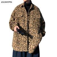 Streetwear Leopard Pattern Giacca da uomo Casual Giacca di lana Turn Down Colletto Adatto a Minia Autunno Autunno Cappotto di castaggio Cappotto oversize