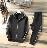 Mens Tracksuit Autumn Spring Fashion Men Letter Print Cardigan Jacket + Pants Two Pieces Suit Casual Lapel Neck Mens Suits Size M-3XL