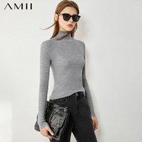 Женские свитера AMII минимализм зима простые для женщин-причинно-следственной женской водолазки свитер 100% шерсть тонкий подходящий женский пуловер 120705271