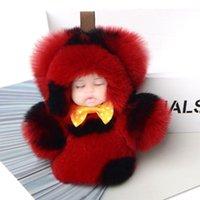أزياء لطيف النوم bowknot الطفل دمية مفتاح سلسلة فو الفراء مربع المفاتيح رقيق pompom كيرينغ النساء بنات هدايا 1