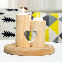 Sostenedor de madera de la luz del té creativa de la vela del corazón ahuecado de velas romántica Tabla Para el hogar fiesta de cumpleaños decoración de la boda EEC2892