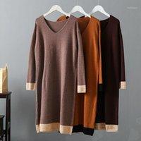 Женские свитеры Sherhure 2021 V-образным вырезом вязаные рукава женщин длинные пуловеры зимний свитер платье Tricot Pull Femme1