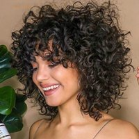 Rebecca Curto Curly Human Human Human Wigs para mulheres negras Peruano Remy Peruca Completa Com Bangs Bouncy Curl Black Cosplay Wigs Nature Wave