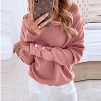 Mode Simple Buttons Blouse Casual Hiver Dames Sexy Off-Spoal Bottom Tops Femmes Femmes Sleeve Shirt Blusas Pullover1