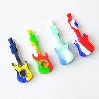 Tubo del silicone del tubo del silicone della chitarra del silicone con il tubo della mano del silicone con la ciotola di vetro Le impiadenze dell'olio di vetro dei tubi del fumo di vetro Bong 4.25 pollici YHM306-1