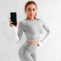 Yoga Outfits Athvotar Nahtlose Fitnessstudio Set Workout Sport Tragen Laufen Kleidung Langarm Top High Taille Leggings Sportanzug