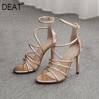 Chaussures habillées [DRATIE] 2021 Spring Summer Toe Toile étroite Zipper Cadrage à glissière creux en cuir PU Talons minces Sandales pour femmes marée 10G719
