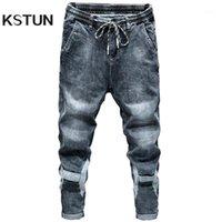 Jeans de Hommes Kstun pour hommes Blue Grey Fit Fit élégant Taille élastique Loisirs de bonne qualité Vêtements pour hommes Pantalons Denim Pants Cowboys1