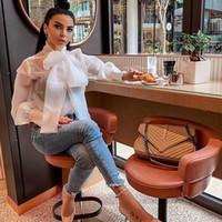 Sommar Bowknot Bow Tie Organza Vit Sheer Blouse Kvinnor Lantern Sleeve Top Office Lady Sexiga Eleganta Blus Toppar Femininos