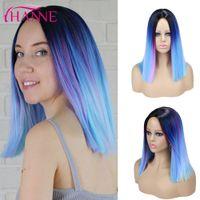 Perruques de cheveux synthétiques Ombre Noire Purple Mix Bleu / Rose / Gris Perruques courtes droites pour les femmes Cosplay ou Party