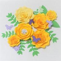 2021 Amarillo 6 Flores de papel gigantes + 6 mariposas + 8 hojas para el fondo de boda Tienda de venta al por menor Decoraciones de guardería de bebé