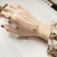 Collegamento, catena 925 Sterling Sterling Figure Coin Braccialetti Gold Round Moda Capelli lunghi Ragazza ritratto Ciondolo per le donne gioielli fini