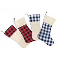 Christmas Stockings Ornaments Candy Gift Storage Bag Lattice...