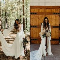 2020 veste con stile country Boho da sposa in pizzo manica lunga con scollo a V Linea Beach Wedding Gowns Boemia Plus Size abito da sposa BC3566