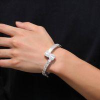 14K Gold Mannen Dames Kubieke Zirconia Diamant Baguette Square Bangle Armband Opening Maat Hiphop Sieraden