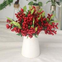 التوت الاصطناعي فرع البلاستيك الزهور وهمية ليف الزخرفية بيري pe الأحمر التوت مصنع لحفل الزفاف المنزل عيد الميلاد الديكور 1