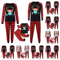 Natal Xmas Plaid Pajamas Two Piece Familiares Outfits Jogo 2020 2021 Máscara rena Papai Noel PJM Set Crianças Pais Início Roupa E110301