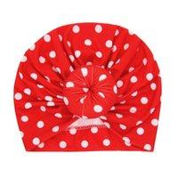 ragazza fasce Nishine bambino Turbante cappello con cappello dei bambini della sfera rotonda Dot cotone stampato Newborn Beanie bambini Baby Shower Giftt