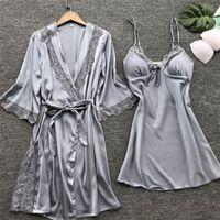 Mulher sexy lace sleepwear lingerie laço pijamas roubos conjunto de roupas nightdress senhoras roupas caseiras y200708