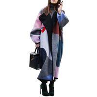 Зимнее пальто Женщина Широкого отворот цифровой печать полушерстяных пальто Негабаритного Длинный Trench Красочных Outwear Шерсть Женщина