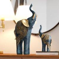 Figurina elefante set casa decorazione di nozze di lusso antico antico decorazione di natale fortunato regalo di natale da casa statua in resina ornamenti T200709