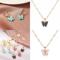 Farbe Schmetterling Anhänger Halskette Womens Acryl Überzogene Gold Ohrstecker 2020 Mode Charms Schmuckkette Neue Produkte 0 7SF F2B