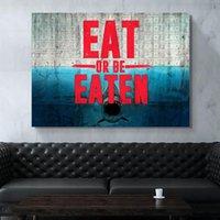 Изображение Home Decor Ешь или быть съеденным Modular Холст Урожая Картины Современного Printed Nordic Poster Shark Wall Art Гостиная